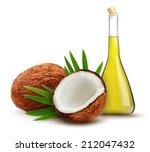 coconut with oil. vector. | Shutterstock .eps vector #212047432