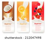 three fruit and milk banners.... | Shutterstock .eps vector #212047498