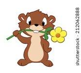 Stock vector vector illustration of a cartoon gopher devouring garden flower 212062888