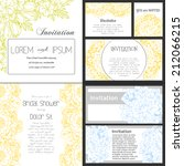 set of invitations with floral...   Shutterstock . vector #212066215