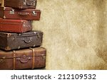 retro bags suitcases valise on... | Shutterstock . vector #212109532