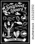 set of hand drawn seafood on... | Shutterstock .eps vector #212122552