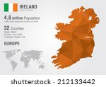 Ireland World Map With A Pixel...