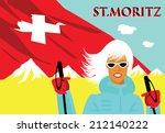 Vintage Ski Poster Swiss St...