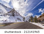 Sun Above A Mountain Road In...