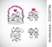 set of hand drawn wedding... | Shutterstock .eps vector #212145736