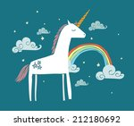 unicorn rainbow vector...
