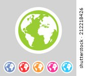 earth globe flat icon | Shutterstock .eps vector #212218426