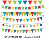 primary colored bunting | Shutterstock .eps vector #212234185