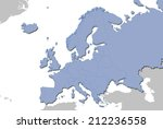 europe map.on white background | Shutterstock . vector #212236558