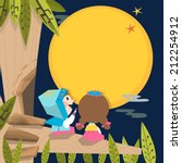 full moon on the tree | Shutterstock .eps vector #212254912