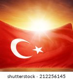 Turkish Flag In Front Of Brigh...