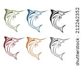 marlin fish set | Shutterstock .eps vector #212262352