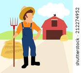 simple cartoon of a farmer and... | Shutterstock .eps vector #212274952