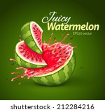 watermelon with juice splash.... | Shutterstock .eps vector #212284216