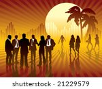 People are talking, sun and graph in the background, conceptual business illustration. - stock vector