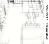 interior building sketch | Shutterstock . vector #212307022
