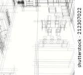 interior building sketch | Shutterstock . vector #212307022