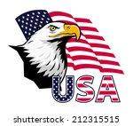 american eagle against usa flag.... | Shutterstock .eps vector #212315515