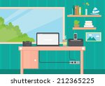 flat design room interior... | Shutterstock .eps vector #212365225