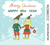 vector christmas card with two... | Shutterstock .eps vector #212388256