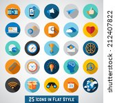 set of basic icons in flat... | Shutterstock .eps vector #212407822