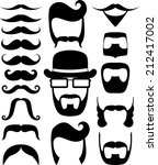 set of black moustaches and... | Shutterstock .eps vector #212417002