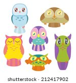 a collection of 6 cute colorful ... | Shutterstock .eps vector #212417902