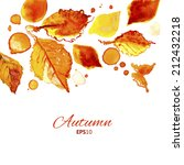 autumn leaves decor. watercolor ... | Shutterstock .eps vector #212432218