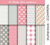set of ten baby girl vector... | Shutterstock .eps vector #212449096