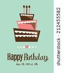 birthday cake card | Shutterstock . vector #212455582