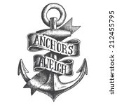 hand drawn anchor with ribbon | Shutterstock .eps vector #212455795