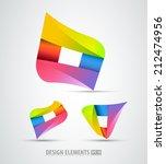 vector origami logo icons. logo ... | Shutterstock .eps vector #212474956