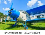 Old Blue And White Aircraft On...
