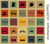 hats glasses  mustaches and tie ... | Shutterstock .eps vector #212507992