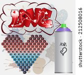 love graffiti card with heart... | Shutterstock .eps vector #212508016