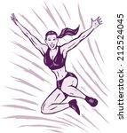jumping stylized girl | Shutterstock .eps vector #212524045