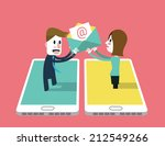 a girl sent email to a man on... | Shutterstock .eps vector #212549266