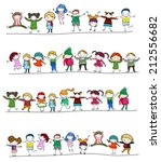 drawing little children doodle... | Shutterstock .eps vector #212556682