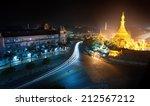 yangon myanmar  night cityscape ... | Shutterstock . vector #212567212
