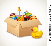 decorative children toys set in ... | Shutterstock .eps vector #212576542