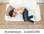 high angle view of young woman... | Shutterstock . vector #212602258