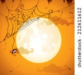 spooky spider web on full moon | Shutterstock .eps vector #212611612
