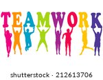 teamwork concept with colored... | Shutterstock . vector #212613706