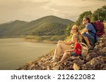 happy family sitting near the... | Shutterstock . vector #212622082