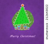 green christmas tree  on purple ... | Shutterstock . vector #212643022