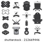 icon set of vector retro badges ... | Shutterstock .eps vector #212669446