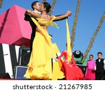LIMASSOL,CYPRUS-JUNE 7:Unidentified ball dancers  in Cypriot-Russian festival June 7, 2008 in Limassol,Cyprus. - stock photo