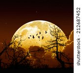 night sky with yellow full moon ... | Shutterstock . vector #212687452