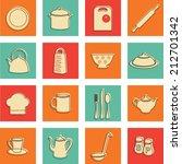 set of kitchen utensils icons... | Shutterstock .eps vector #212701342